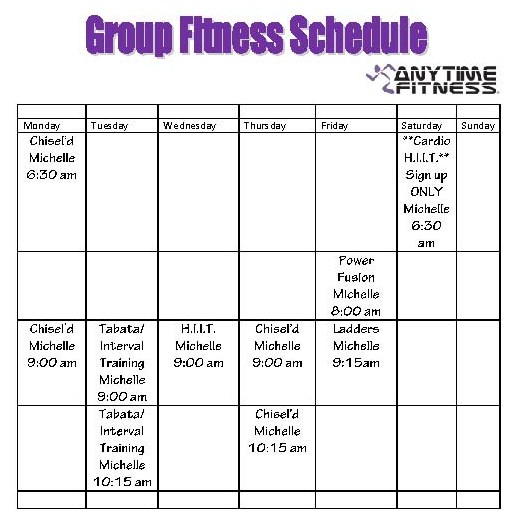 Classes Anytime Fitness Fall 2012