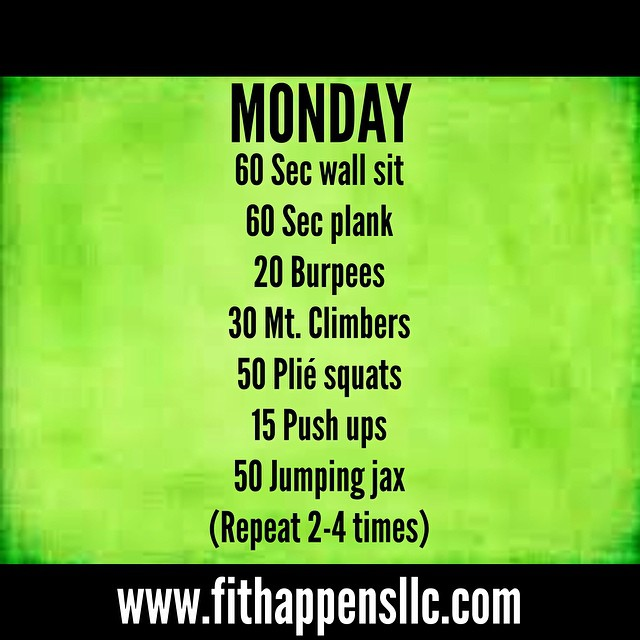 Fit Happens Instagram Workout 3-9 Monday